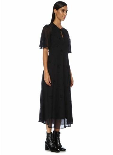 Beymen Club Yakası Bağcıklı Çiçekli Midi Elbise Lacivert